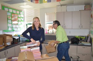 Dr. Stacey Duckett and Club President Bernie Szalaj 300x199 Antioch Rotary Club expands annual project to give a dictionary to every third grader in town
