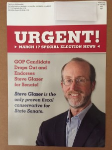 One of a variety of mailers supporting Glazer's campaign paid for by Bill Bloomfield.