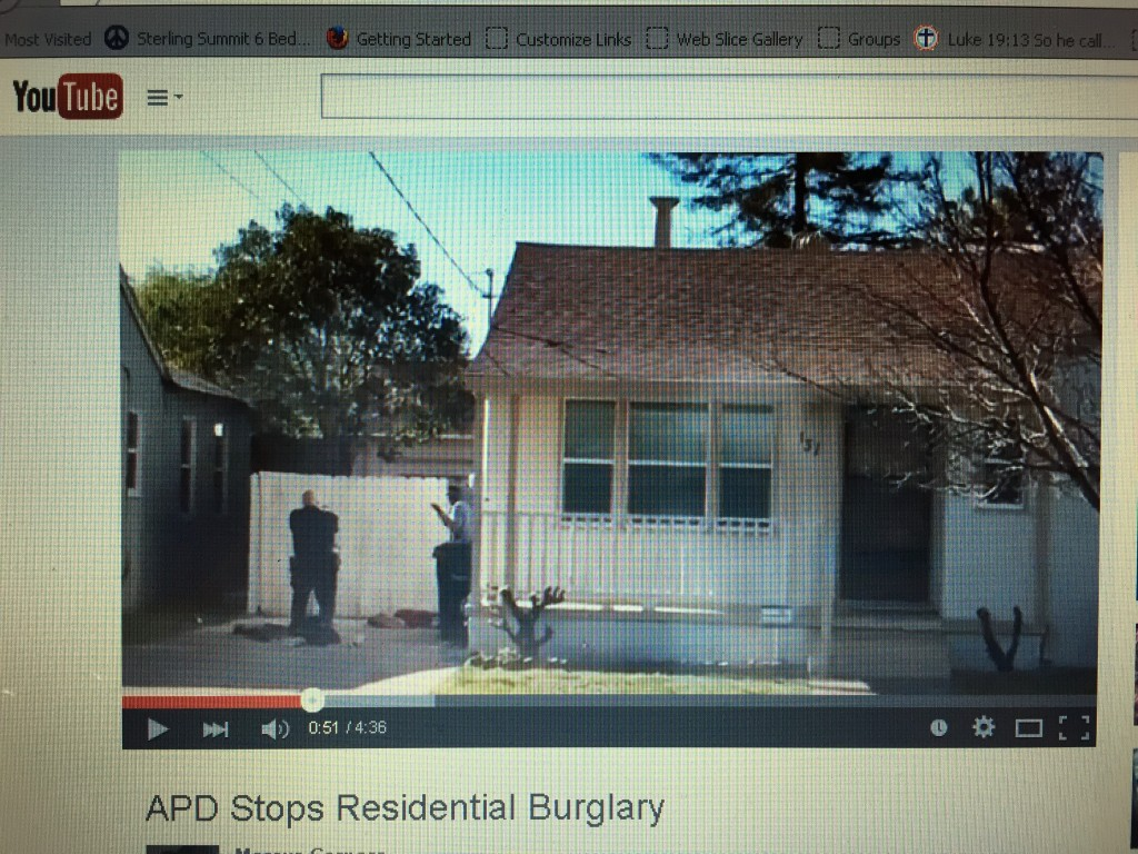 Pic of YouTube video of foiled burglary 1024x768 Antioch Police stop residential burglary, resident catches it on video
