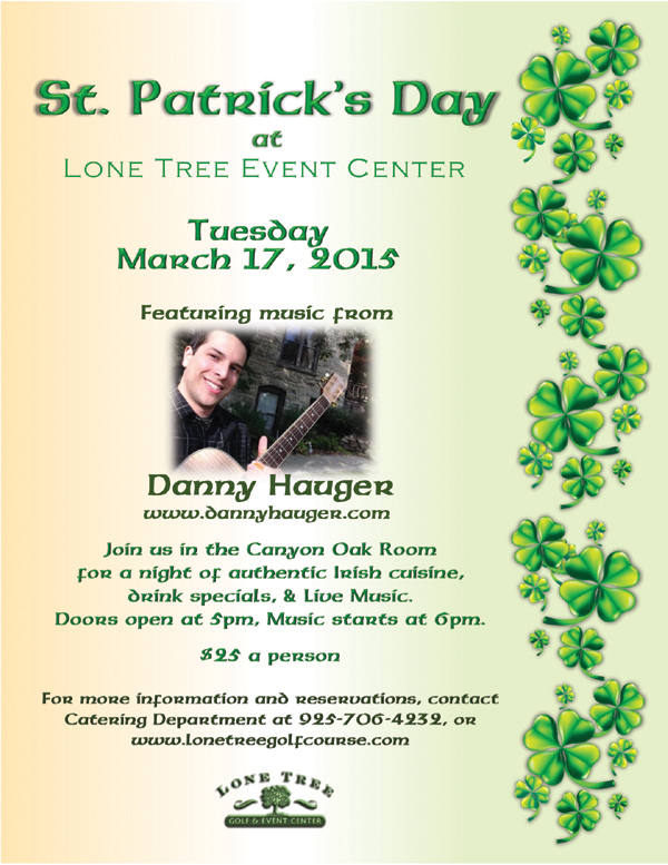 St. Patties Day at Lone Tree Celebrate St. Patricks Day at Lone Tree Golf & Event Center Tuesday night