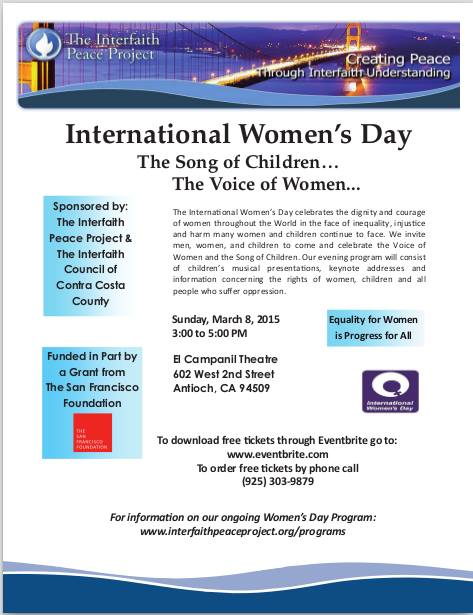 international womens day Antioch to celebrate International Womens Day at El Campanil Theatre, Sunday, March 8