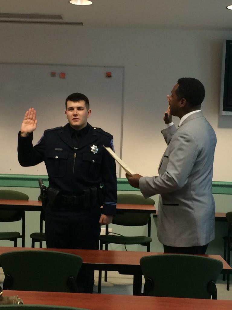 Aaron Hughes Mayor Harper 768x1024 New Antioch police officer sworn in, Monday