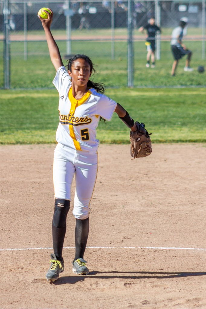Ayanna Sanchez winds up 682x1024 Freshman throws perfect game for Antioch High Varsity Softball