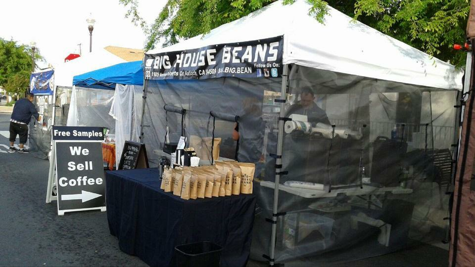 Big House Beans at Bwd Farmers Market Fresh roasted coffee at Antiochs Big House Beans booth at Brentwood Farmers Market on Saturdays