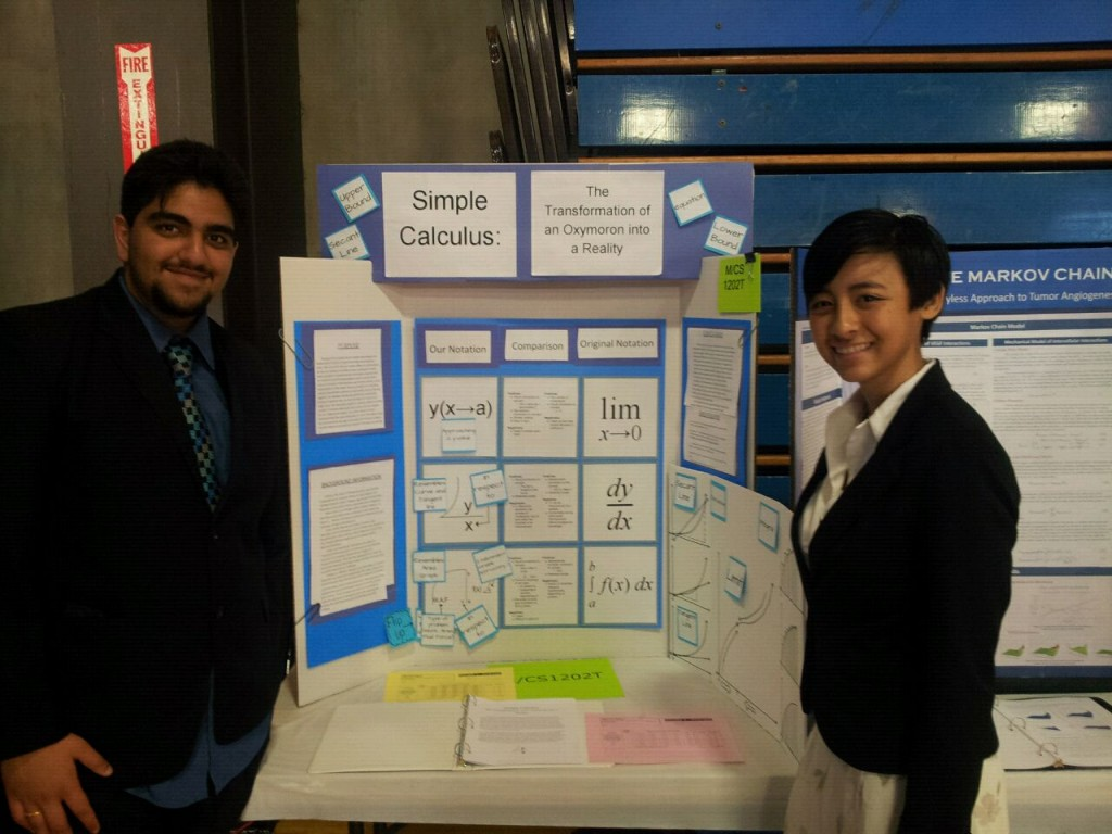 Devansh Vaid and Katia Williams with their Third Place entry in the county science fair.