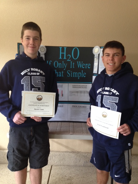Jacob Yano and Scott Lombardi Antiochs Holy Rosary School eighth graders place third in County Science Fair