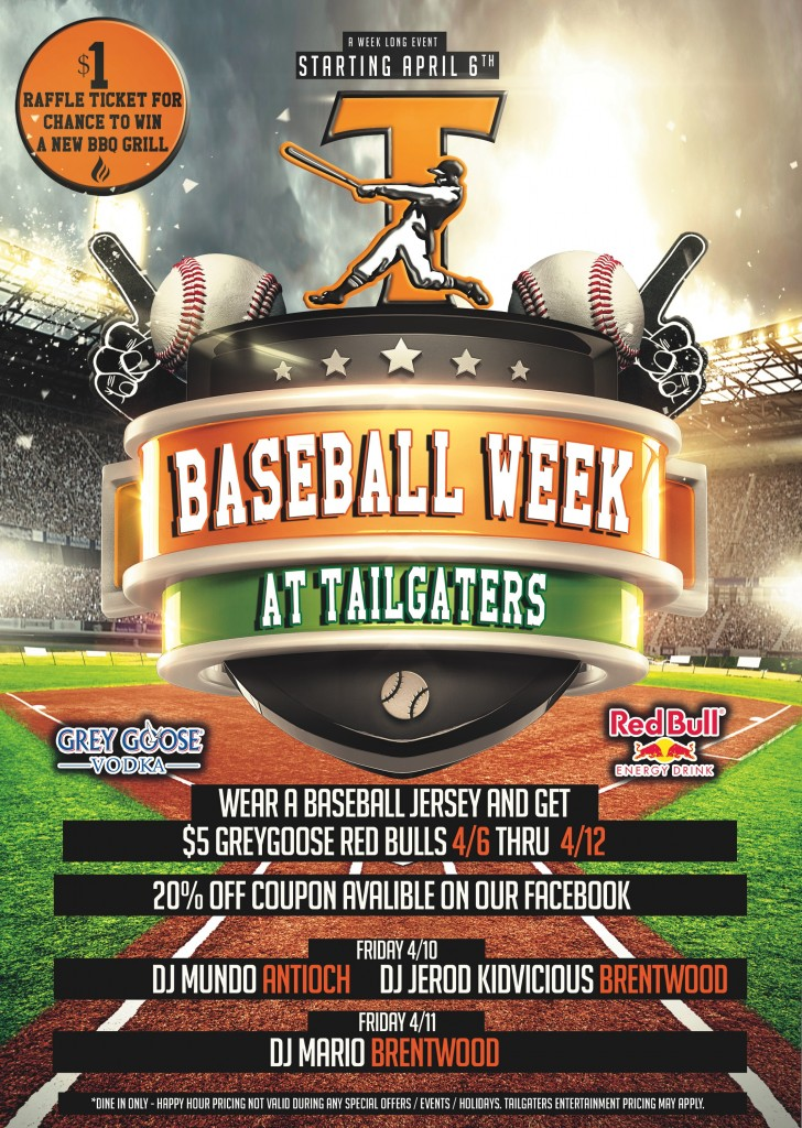 TG Baseball week 728x1024 Its Baseball Week at Tailgaters in Antioch and Brentwood through Sunday