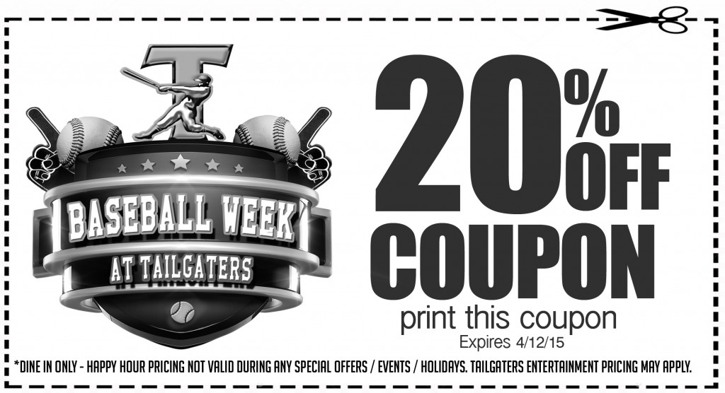 TG coupon 1024x556 Its Baseball Week at Tailgaters in Antioch and Brentwood through Sunday