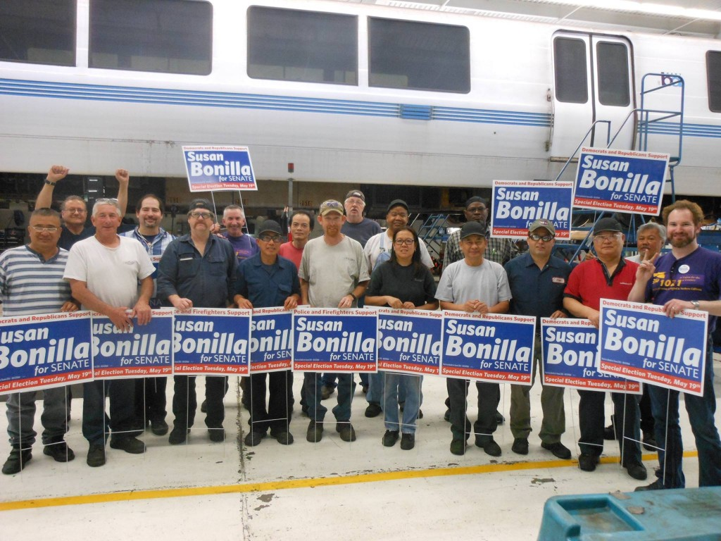 BART Concord Yard Bonilla Rally-Shift No. 1. courtesy of Glazer for Senate campaign.