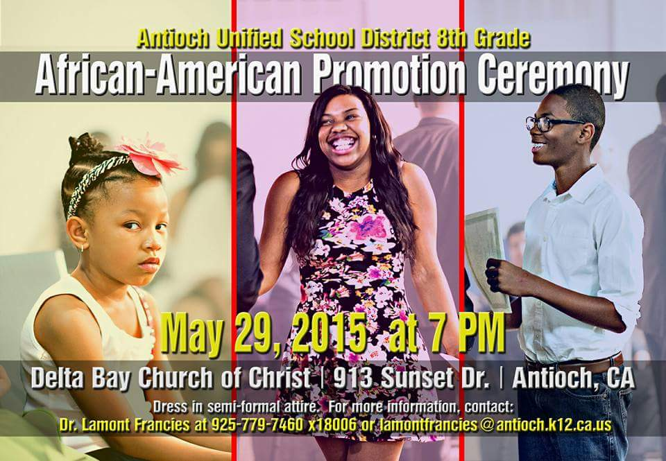 Flyer African American 8th grade promotion ceremony in Antioch raises concerns, organizer explains