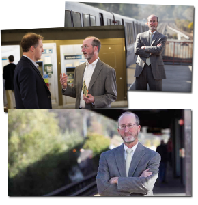 Photos of Glazer at BART stations, used in his campaign materials and on his website.