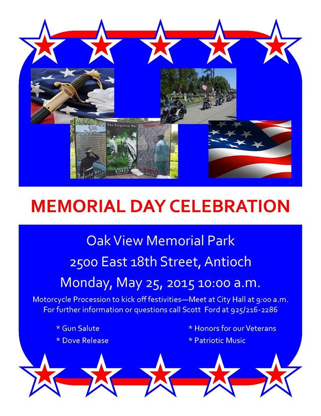 Memorial Day celebration Antioch to commemorate Memorial Day at Oak View Memorial Park on Monday