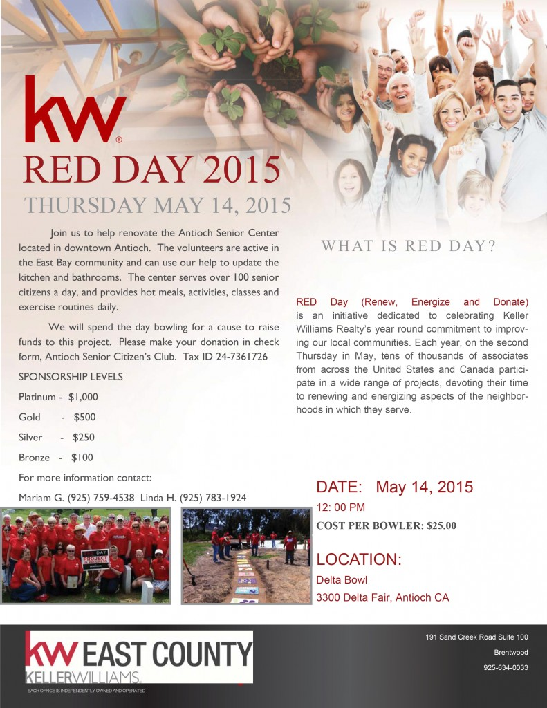 RED DAY 2015 791x1024 Keller Williams Realty East County to hold annual fundraiser at Delta Bowl, Thursday