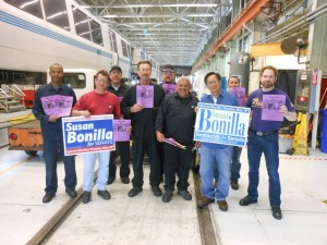 Rally for Susan Bonilla at BART Richmond Yard during Shift No. 1.