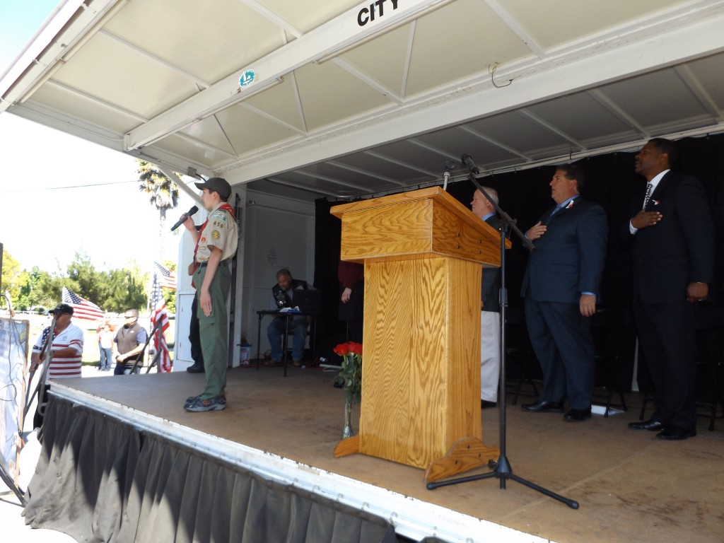 Spencer Green of Boy Scouts Troop 450 leads in the Pledge 1024x768 Antioch commemorates Memorial Day at annual ceremony, Monday