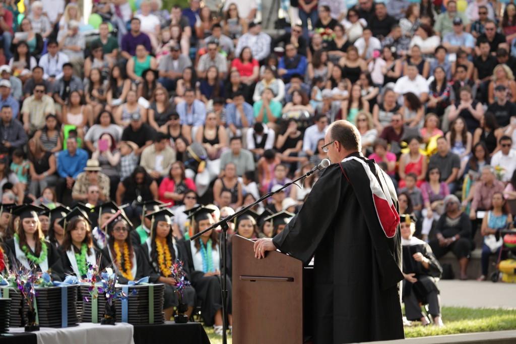 DLMHS grad 2015 Bergerhouse crowd 1024x682 Dozier Libbey graduates unique class, first under Principal Bergerhouse