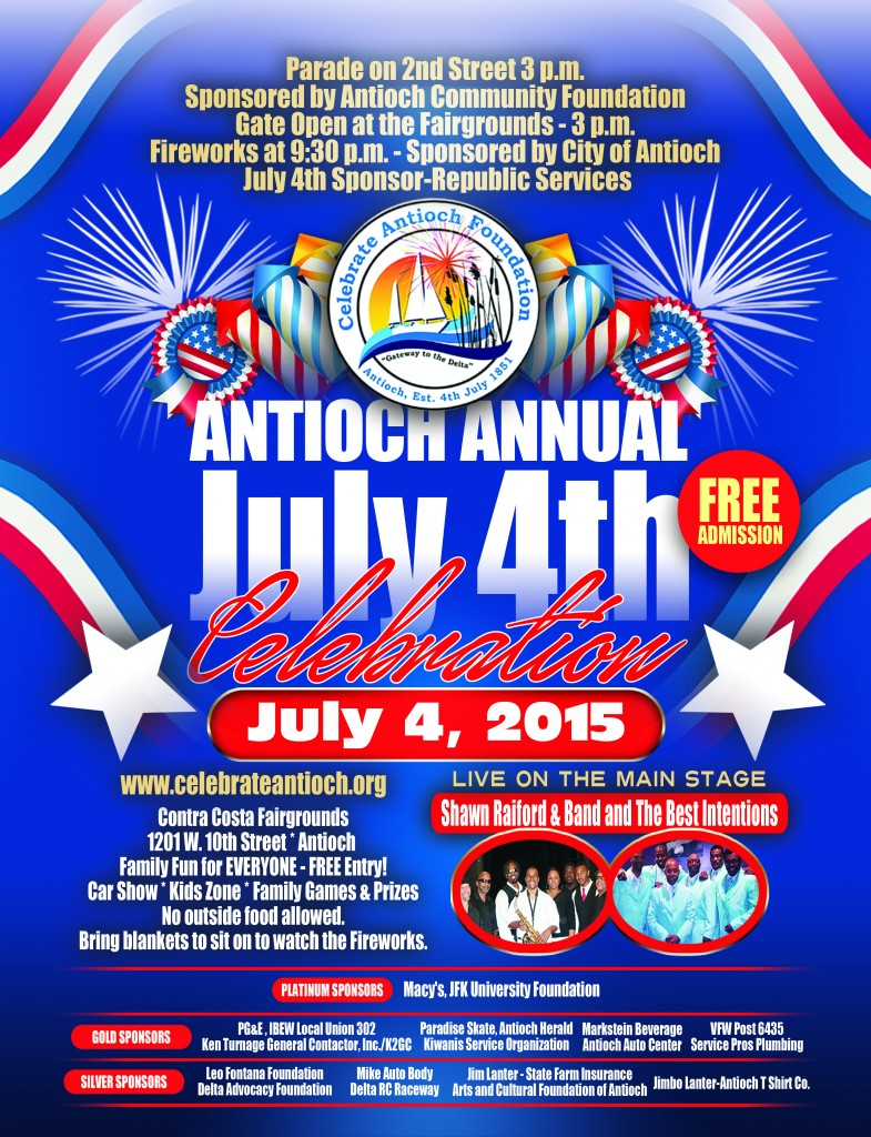 Final 4th of July Poster w Sponsors 785x1024 Antiochs Annual July 4th Celebration to include Parade, all day events and FIREWORKS!