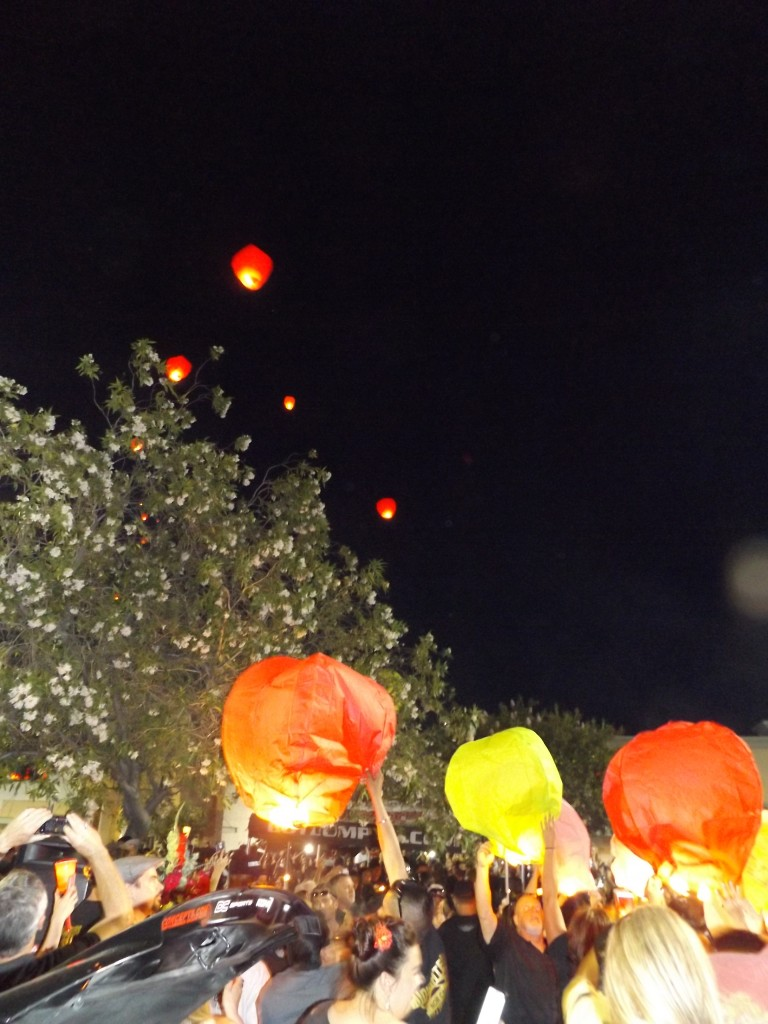 "The lanterns rise into the sky on the windy evening in memory of Jeremy ""Lumpy"" Sturgill, Friday night, June 19, 2015."