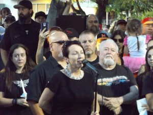Lumpy's mother, Kathy Sturgill speaks to those gathered, last Friday night.