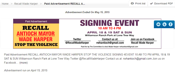 Recall ad Times website Harper recall organizers ran ad in newspaper, website with fake committee name, paper takes responsibility