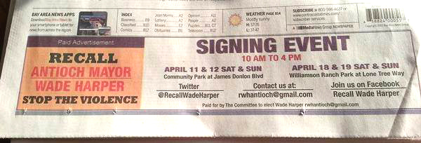 Recall newspaper ad final Harper recall organizers ran ad in newspaper, website with fake committee name, paper takes responsibility