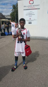 Alan Lloyd Jr with his championship trophy 168x300 Antioch teen plays basketball in Europe, helps team USA bring home the gold