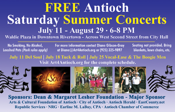 Free Summer Concerts ad 07  Free Saturday Summer Concerts in downtown Antioch start this Saturday