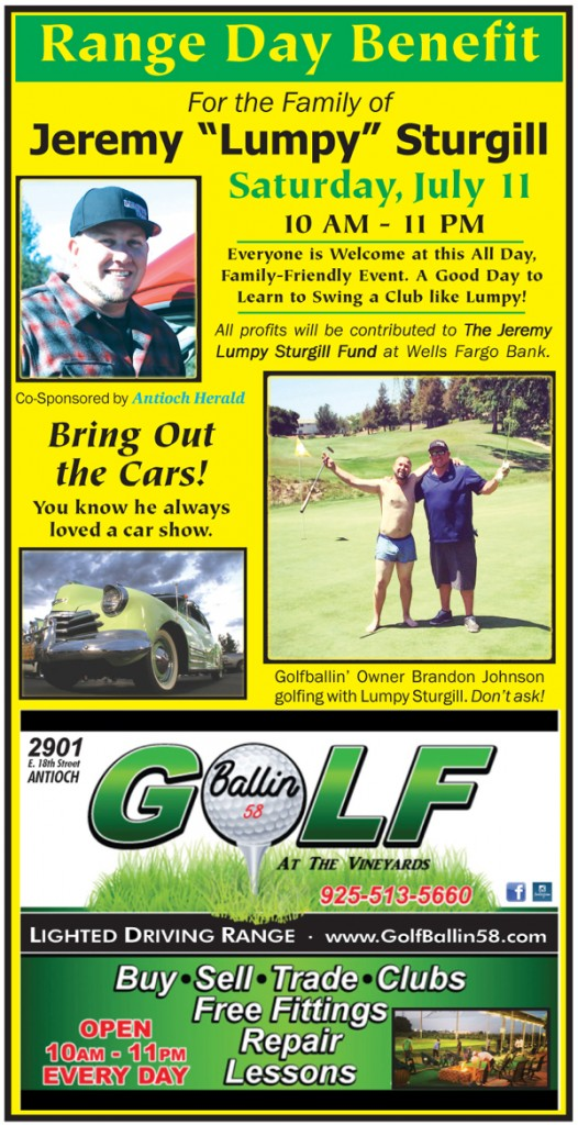 Golfballin Lumpy Benefit web ad 526x1024 All day benefit for Lumpy Sturgills family at Golfballin in Antioch, Saturday