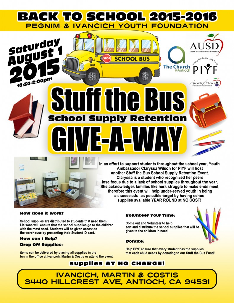 School supply Give a way 2015 2016 791x1024 Antioch teen and law office to hold annual effort to collect school supplies for Antioch students