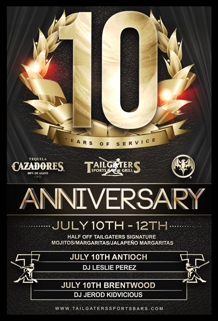 Tailgaters 10th Anniversary 696x1024 Tailgaters to celebrate 10th Anniversary with special events, this Friday night
