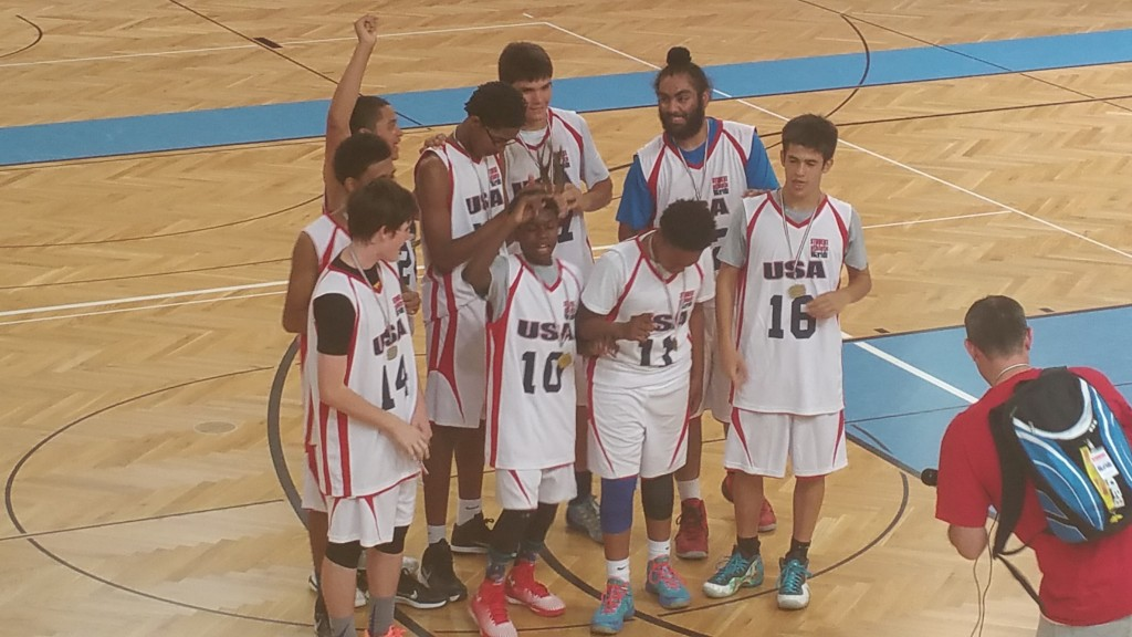 The USA Basketball 16 and Under boys championship team.