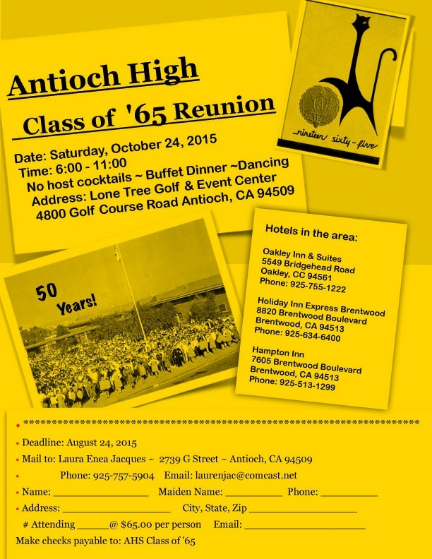 AHS class of 65 reunion Antioch High Class of 1965 to hold 50 year reunion in October, seeks classmates
