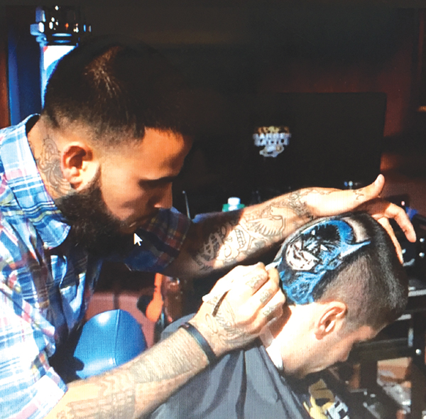 A screen shot of Derek's winning design on the Barber Battle TV show.
