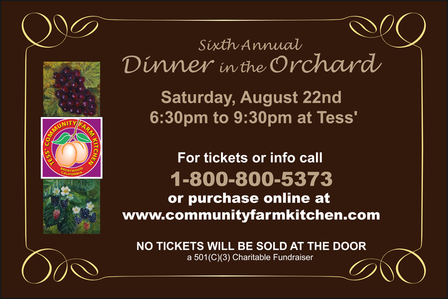 "Tess 6th Annual Dinner Enjoy ""Dinner in the Orchard"" at annual fundraiser August 22"