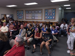 A standing room only crowd filled the chambers at Wednesday night's Antioch School Board meeting.