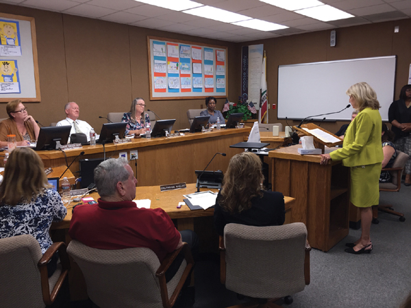 Barbara Cowan gives her resignation speech to the Antioch School Board at Wednesday's meeting.