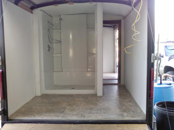 Inside one of the mobile shower units by Shower House Ministries.