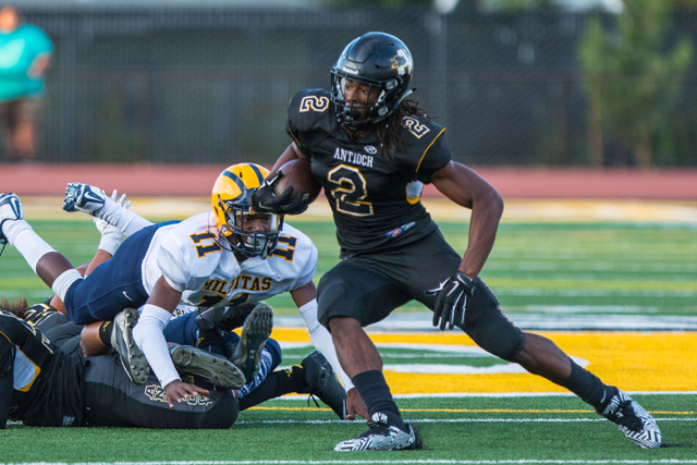 Antioch High running back Najee Harris on his way to breaking the school record for rushing yards on Friday, September 4, 2015. photo by Luns Louie