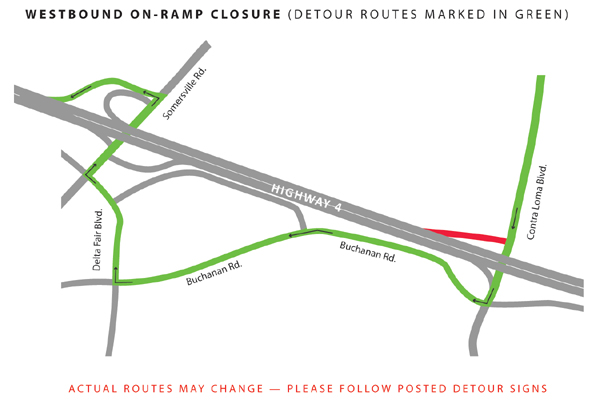 Hwy 4 Road Closure Detour Map Oct 31-Nov 6