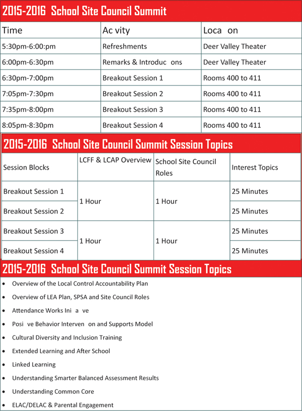 School Site Council Summit Schedule English