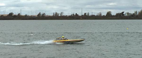 Skip Tuttle gives a demonstration in his flat bottom boat that can reach speeds of 100 MPH, on the Antioch waterfront, during the Delta Thunder VI speed boat races, Sunday, October 18, 2015