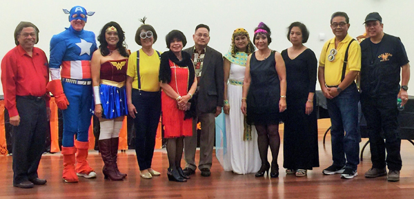Enjoying the annual charitable fund-raising Dinner Dance held Halloween at the Antioch Community Center at Prewett Park are officers of the Filipino American Cultural Society of Antioch, left to right: Celso Perez, Walter Ruehlig, Cynthia Ruehlig. Veyet Virtusio, Clarita Perez, Sergio Palangas, Cely Ablaza, Norma delos Santos, Manette Domingo, Fred Virtusio and Fred Ablaza..