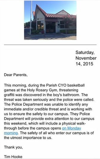 A screen shot of the email sent to parents by Holy Rosary Catholic School Principal Tim Hooke, Saturday. provided by a parent.