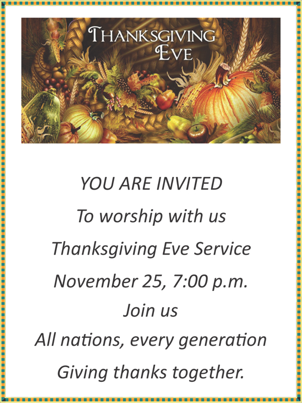 Thanksgiving Eve Service St John's Lutheran