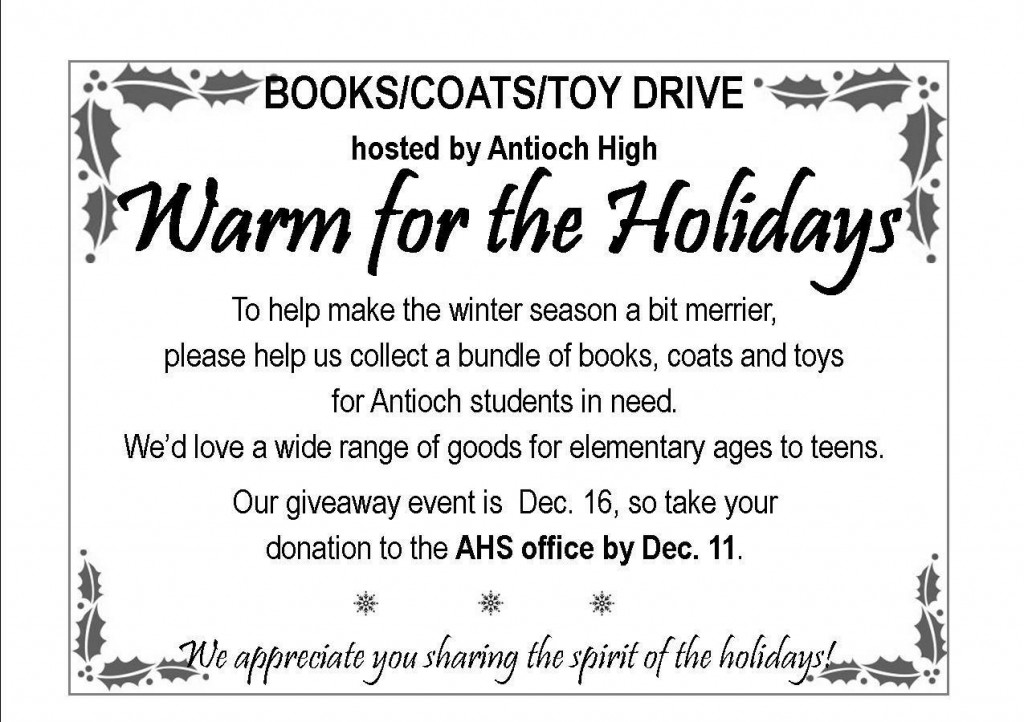 AHS coat book & toy drive