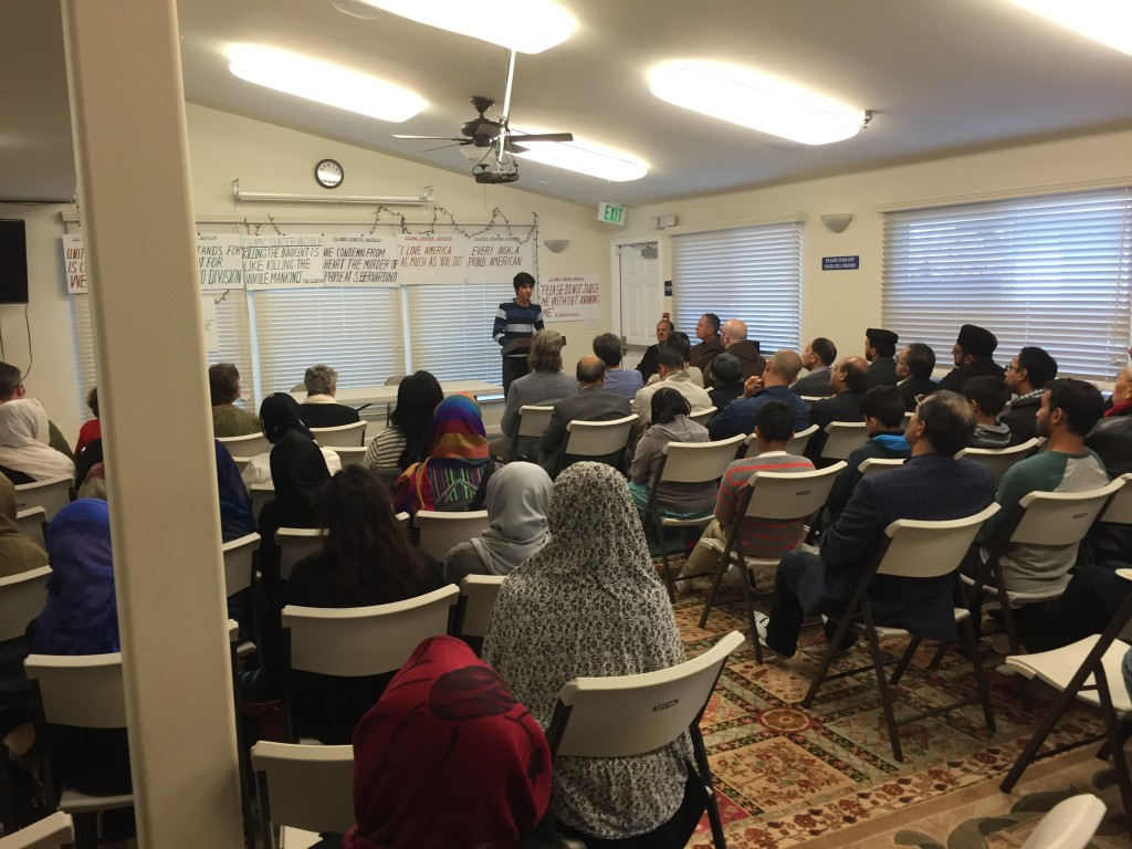 16-year-old high school student Hamza Sultan spoke to those at the Islamic Center of East Bay's open house on Sunday, Dec. 13th.