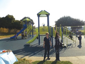 Rhea Elina Laughlin of First 5 Contra Costa, with Antioch Parks & Recreation Director Nancy Kaiser, thanked those in attendance gathered for the ribbon cutting of the new playground on Saturday, November 20, 2015.
