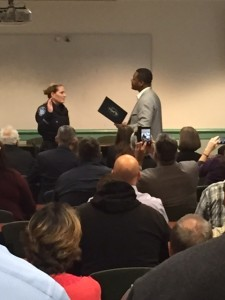 New Antioch Police Captain takes her oath of office from Mayor Wade Harper during a promotion ceremony at the Antioch Police Facility on Tuesday, December 15, 2015. by Nick Goodrich