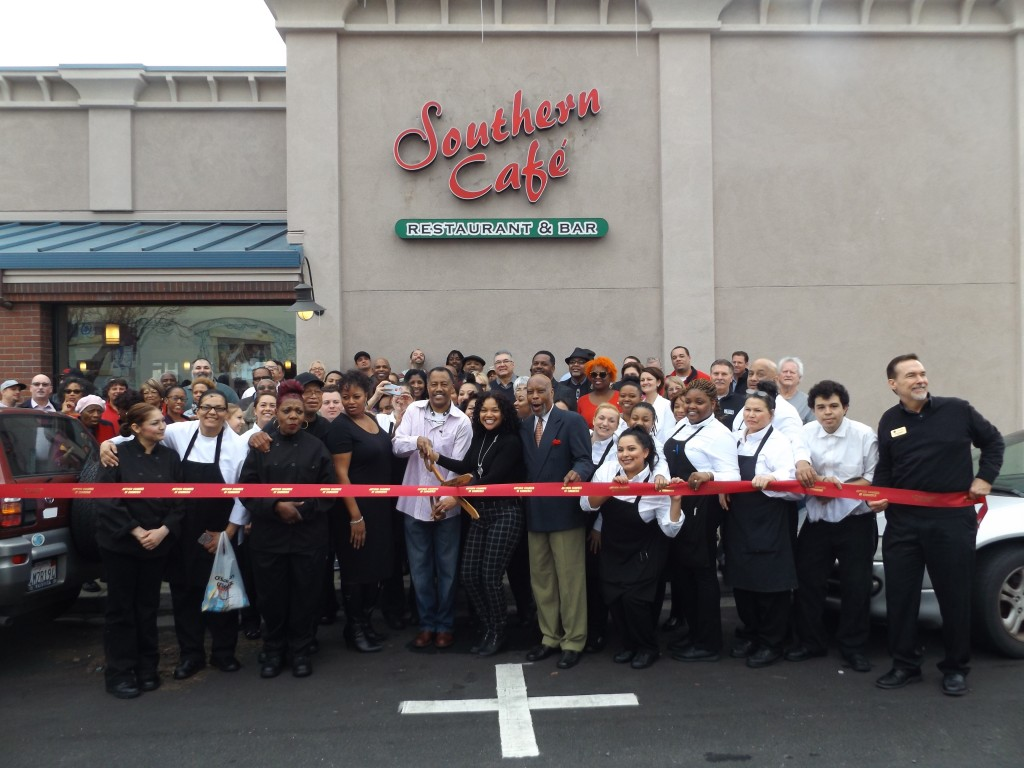 Antioch City Council members, representatives from the Antioch Chamber of Commerce, friends and family joined the owners of the new Southern Cafe in downtown Antioch for their Grand Opening and Ribbon Cutting Ceremony, Friday, January 29th, 2016.