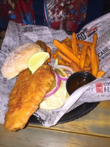 The Yuengling Beer-battered fish sandwich was delicious.
